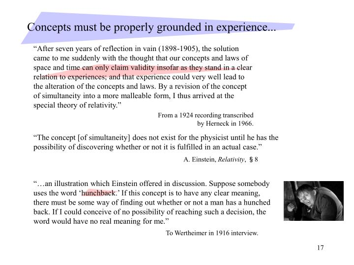 Concepts must be properly grounded in experience...