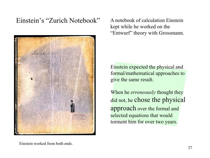 Einstein expected the physical and formal/mathematical approaches to give the same result.
