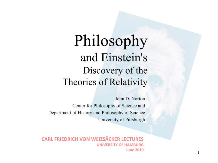 Philosophy and einstein s discovery of the theories of relativity