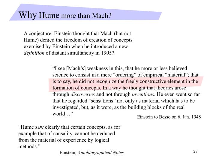 """I see [Mach's] weakness in this, that he more or less believed science to consist in a mere ""ordering"" of empirical ""material""; that is to say, he did not recognize the freely constructive element in the formation of concepts. In a way he thought that theories arose through"