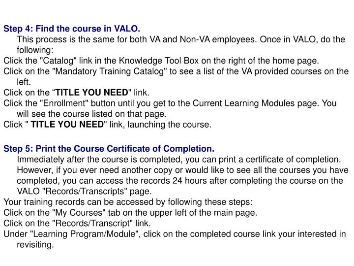 Step 4: Find the course in VALO.