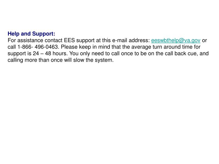 Help and Support: