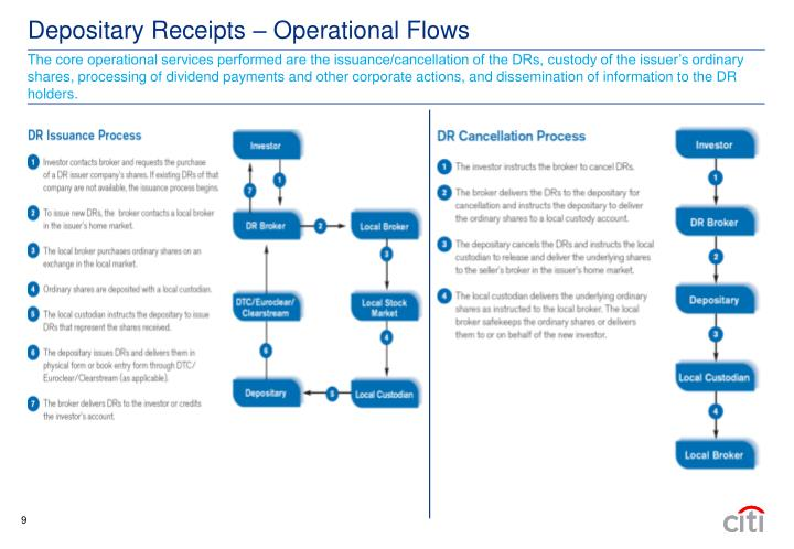 The core operational services performed are the issuance/cancellation of the DRs, custody of the issuer's ordinary shares, processing of dividend payments and other corporate actions, and dissemination of information to the DR holders