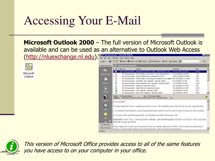 Accessing Your E-Mail