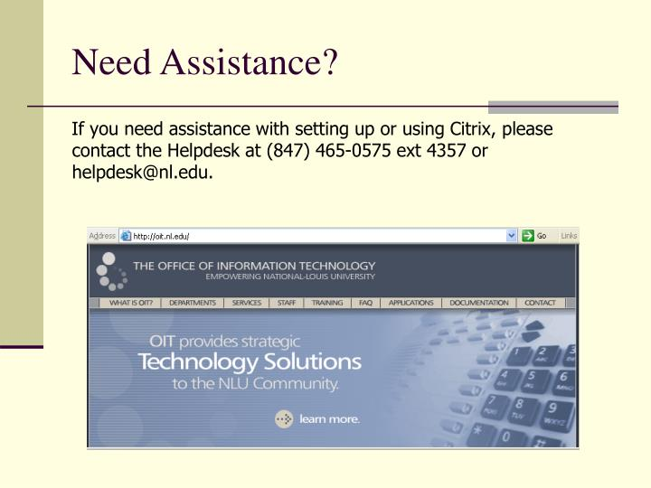 Need Assistance?