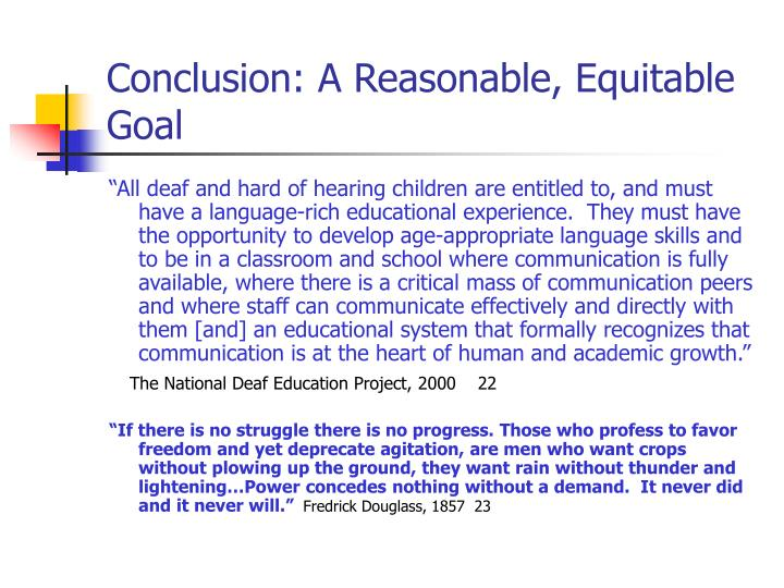 Conclusion: A Reasonable, Equitable Goal