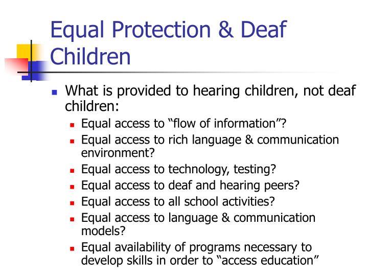 Equal Protection & Deaf Children