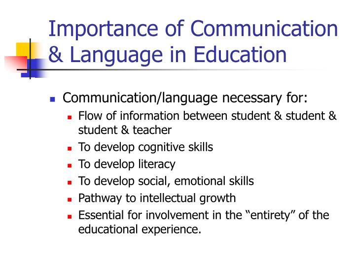 Importance of Communication & Language in Education