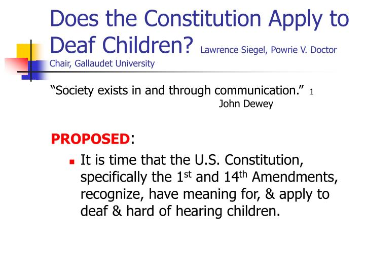 Does the Constitution Apply to Deaf Children?