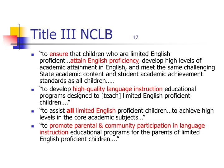 Title III NCLB