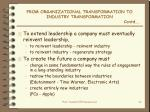from organizational transformation to industry transformation contd
