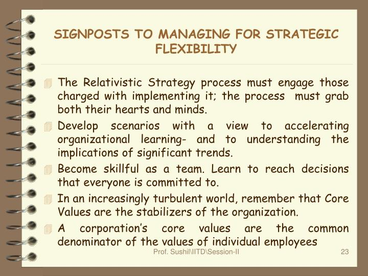 SIGNPOSTS TO MANAGING FOR STRATEGIC FLEXIBILITY