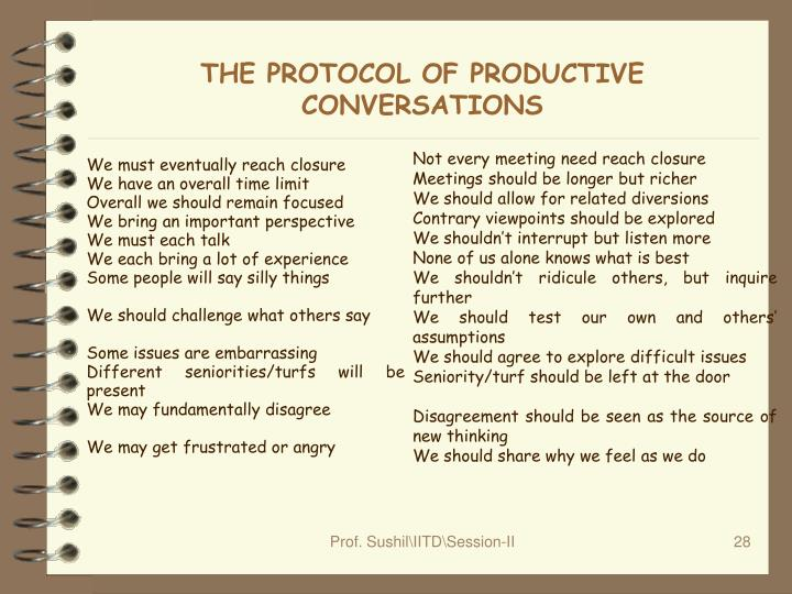 THE PROTOCOL OF PRODUCTIVE CONVERSATIONS