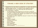 toward a new view of strategy