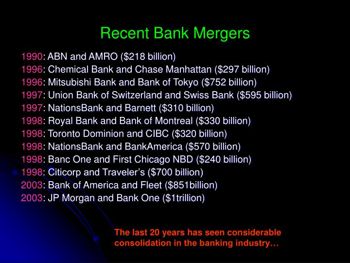 Recent Bank Mergers