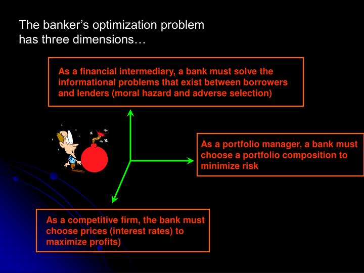 The banker's optimization problem has three dimensions…