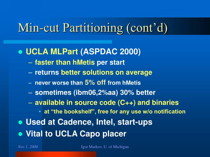 Min-cut Partitioning (cont'd)