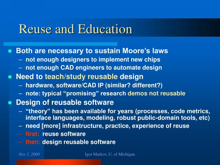 Reuse and Education
