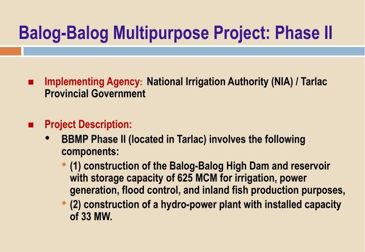 Balog-Balog Multipurpose Project: Phase II