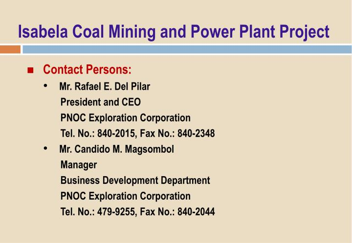 Isabela Coal Mining and Power Plant Project