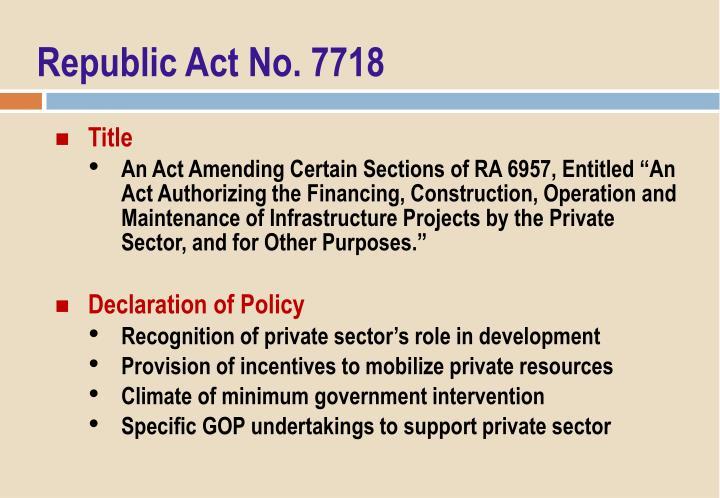 Republic Act No. 7718