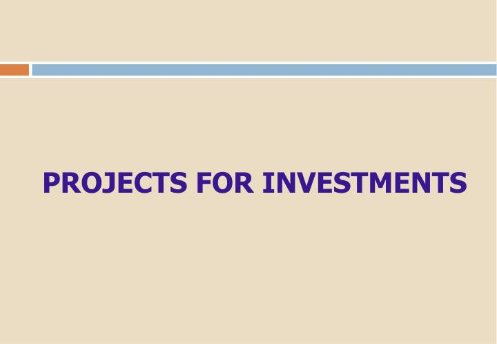 PROJECTS FOR INVESTMENTS