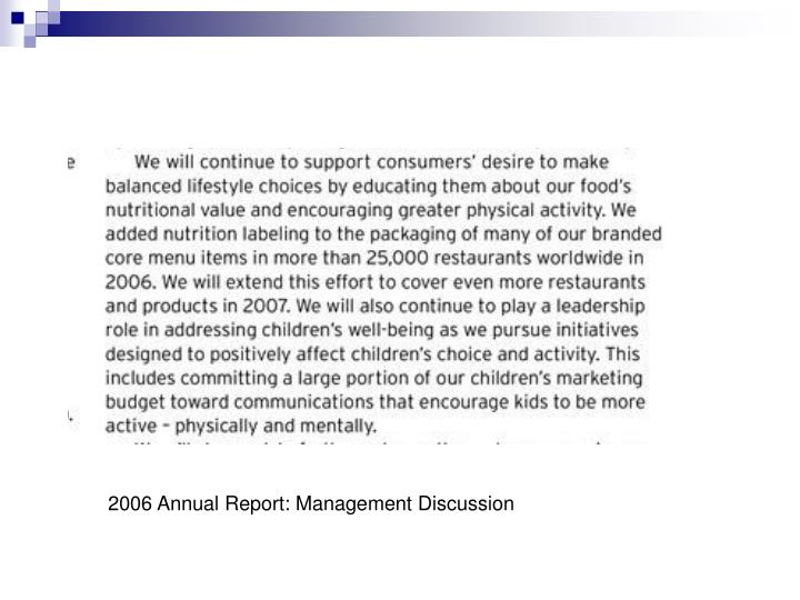 2006 Annual Report: Management Discussion