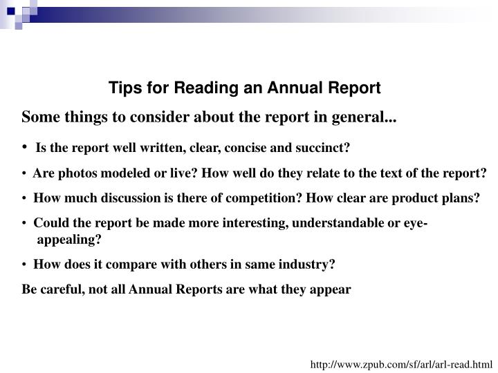Tips for Reading an Annual Report