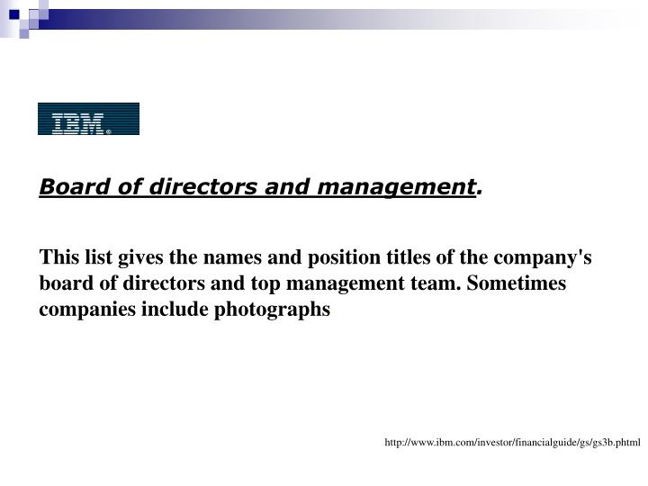 Board of directors and management