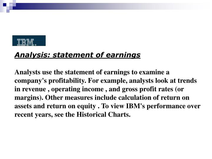 Analysis: statement of earnings