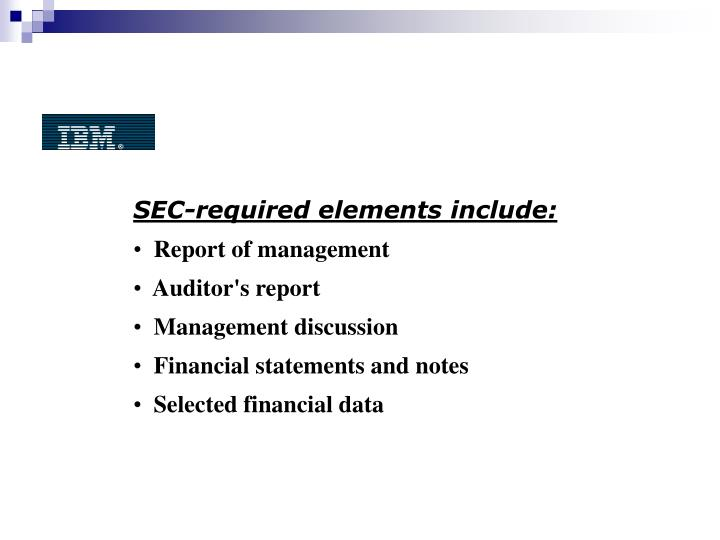 SEC-required elements include: