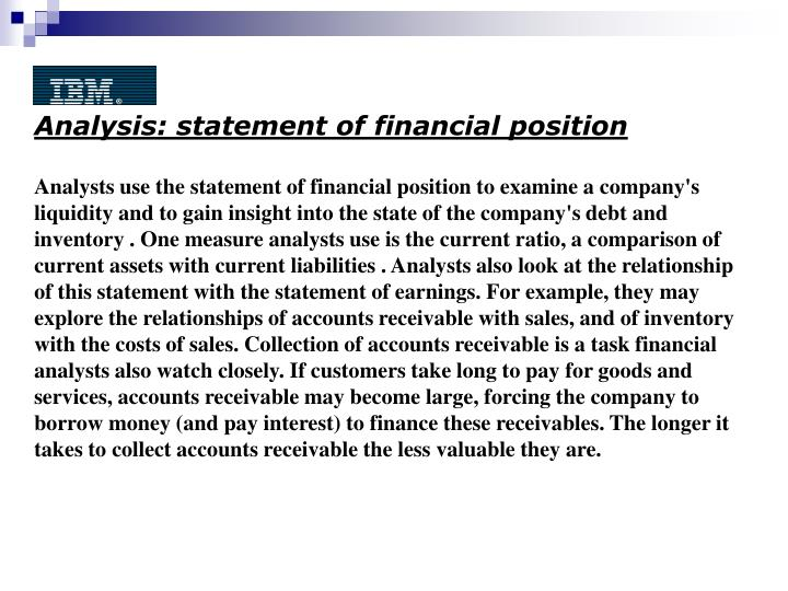 Analysis: statement of financial position