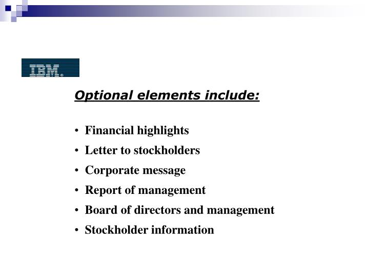Optional elements include: