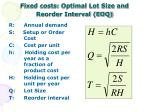 fixed costs optimal lot size and reorder interval eoq