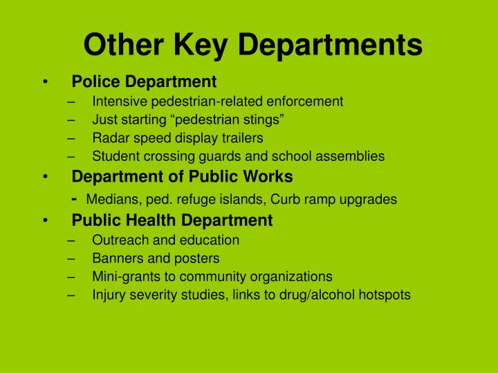 Other Key Departments