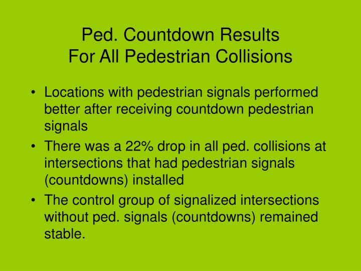 Ped. Countdown Results