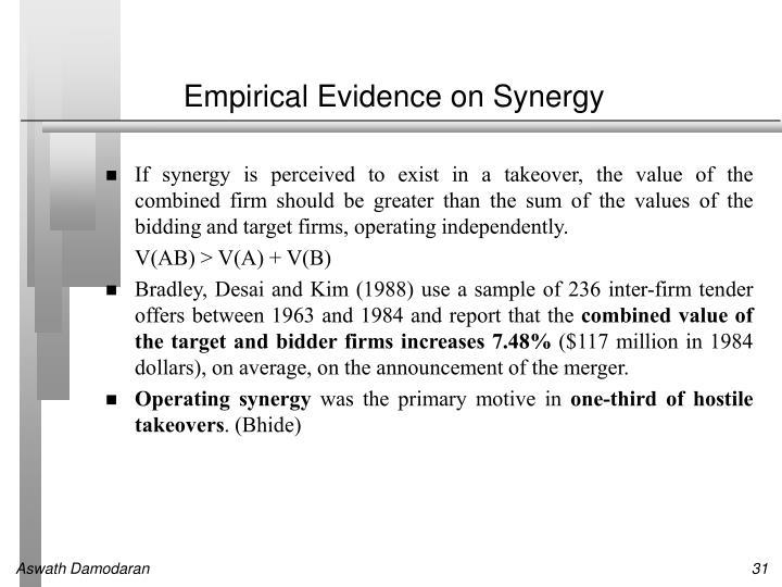 Empirical Evidence on Synergy