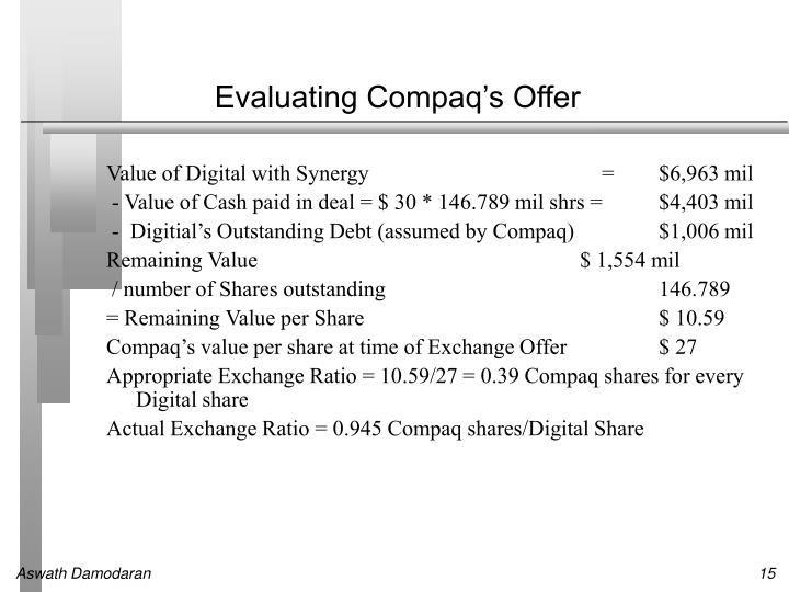 Evaluating Compaq's Offer