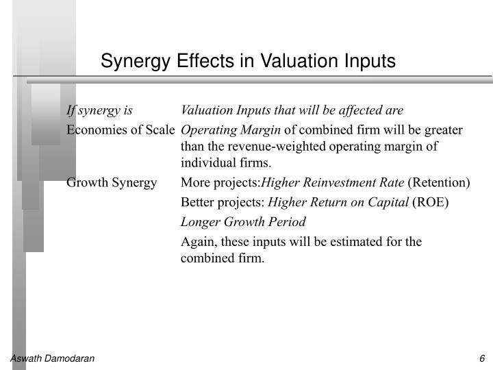 Synergy Effects in Valuation Inputs