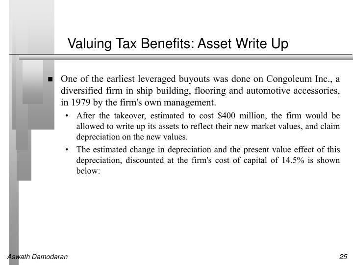 Valuing Tax Benefits: Asset Write Up