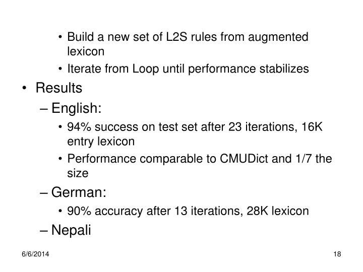Build a new set of L2S rules from augmented lexicon