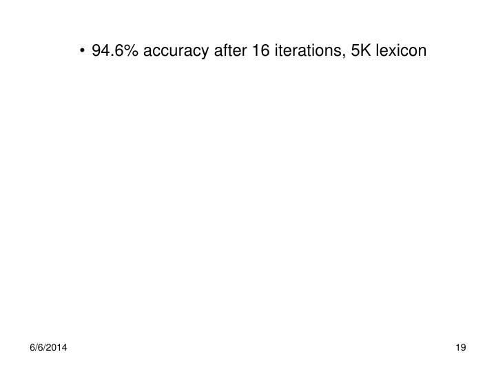 94.6% accuracy after 16 iterations, 5K lexicon