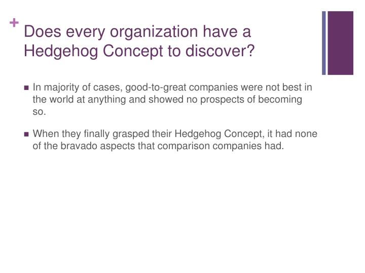 Does every organization have a Hedgehog Concept to discover?