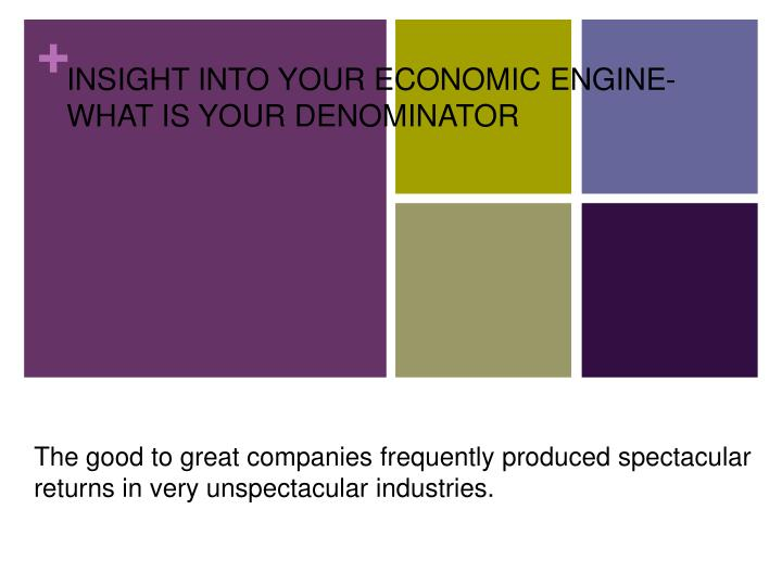 INSIGHT INTO YOUR ECONOMIC ENGINE- WHAT IS YOUR DENOMINATOR