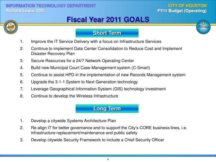 Fiscal Year 2011 GOALS