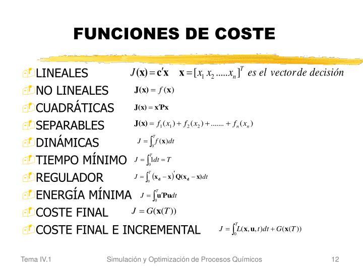 FUNCIONES DE COSTE