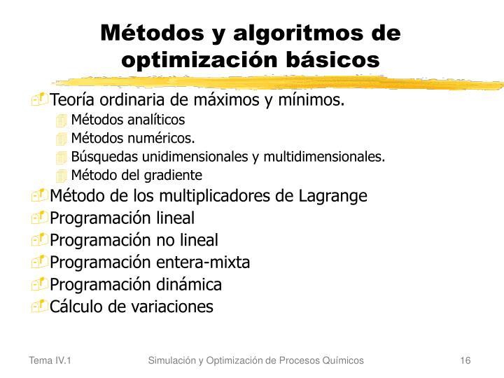 Métodos y algoritmos de optimización básicos