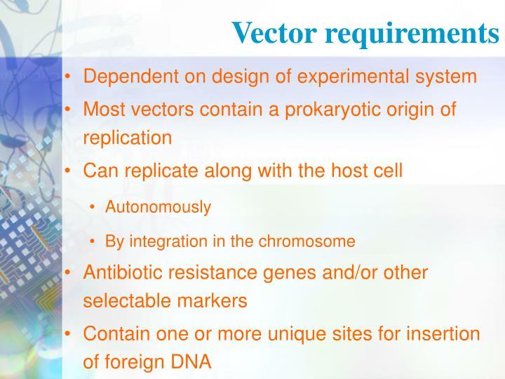 Vector requirements