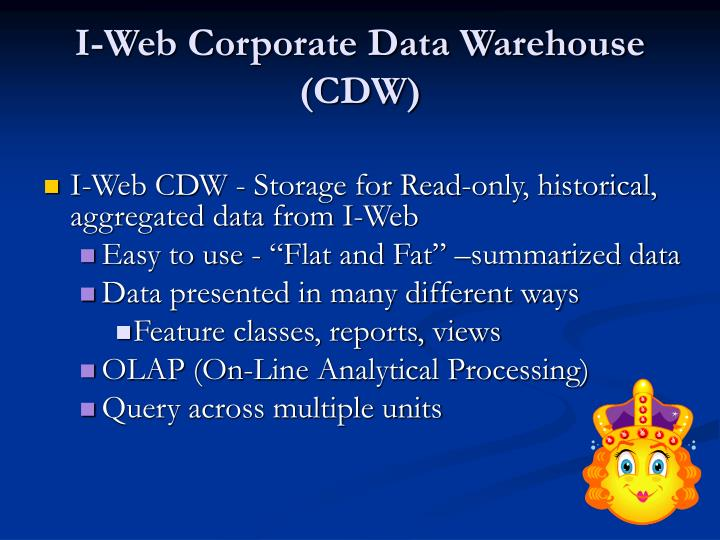 I-Web Corporate Data Warehouse (CDW)