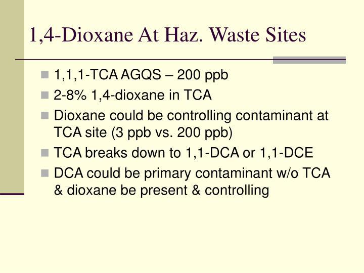 1,4-Dioxane At Haz. Waste Sites